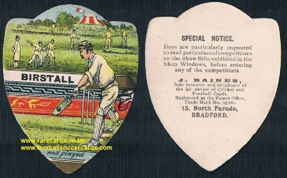 1900 Birstall cricket club on a Baines trade card